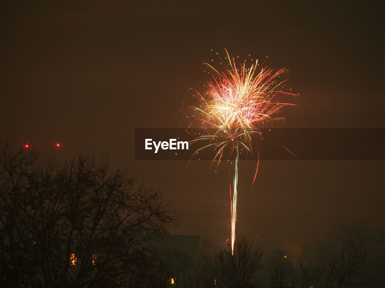 night, celebration, firework display, firework - man made object, illuminated, exploding, low angle view, long exposure, sky, event, no people, motion, outdoors, arts culture and entertainment, firework, tree