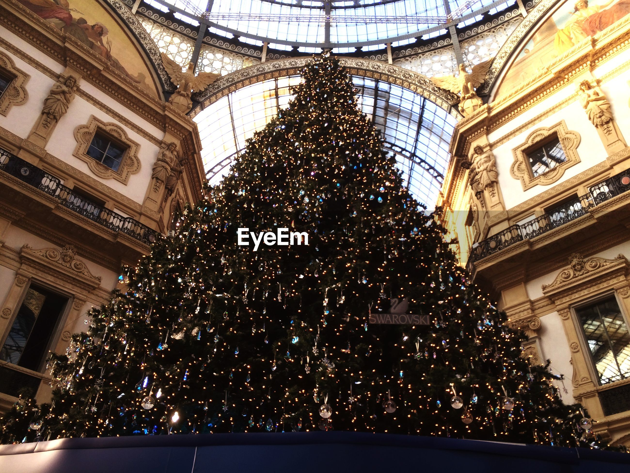 Low angle view of christmas tree in galleria vittorio emanuele ii