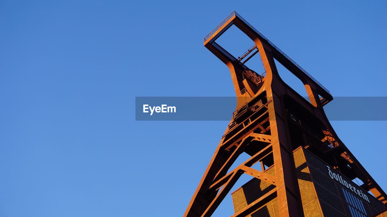 Low Angle View Of Metal Structure Against Clear Sky