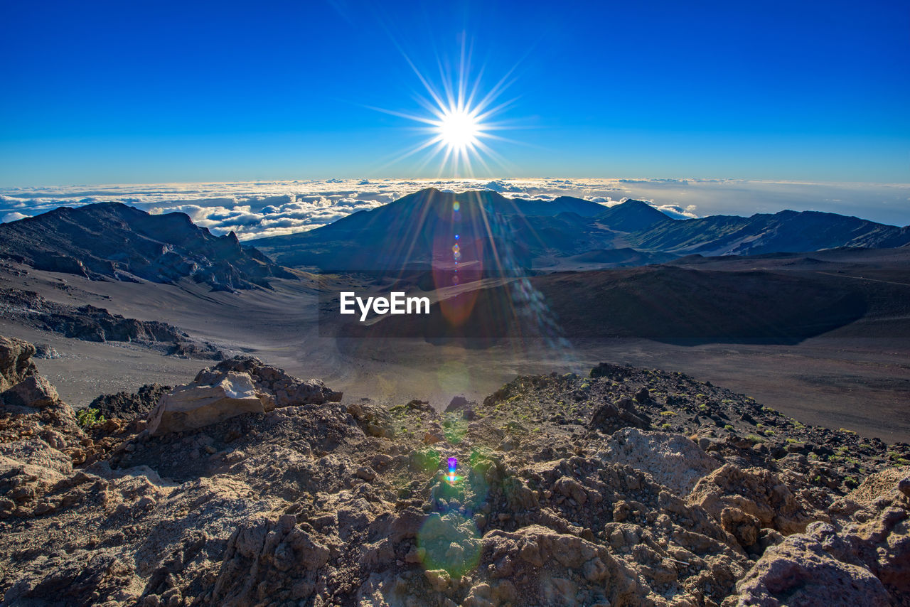 Sun Shining Over Mountains At Haleakala Crater