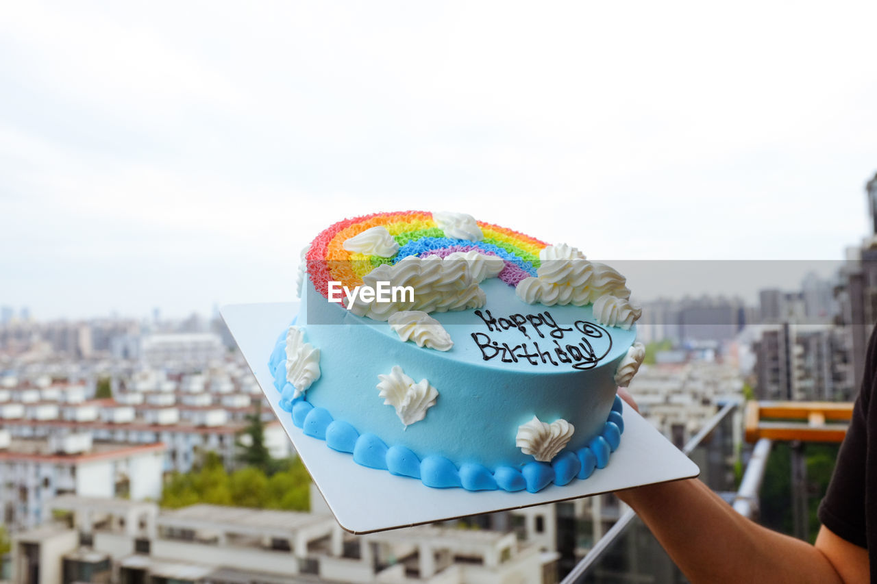 Close-Up Of A Multi Colored Birthday Cake With Copy Space