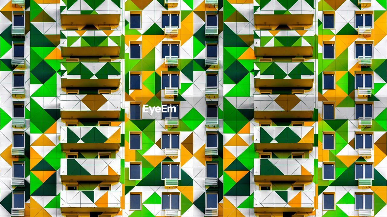 full frame, multi colored, backgrounds, pattern, no people, built structure, creativity, architecture, art and craft, day, wall - building feature, design, repetition, abstract, shape, side by side, large group of objects, geometric shape, outdoors, close-up