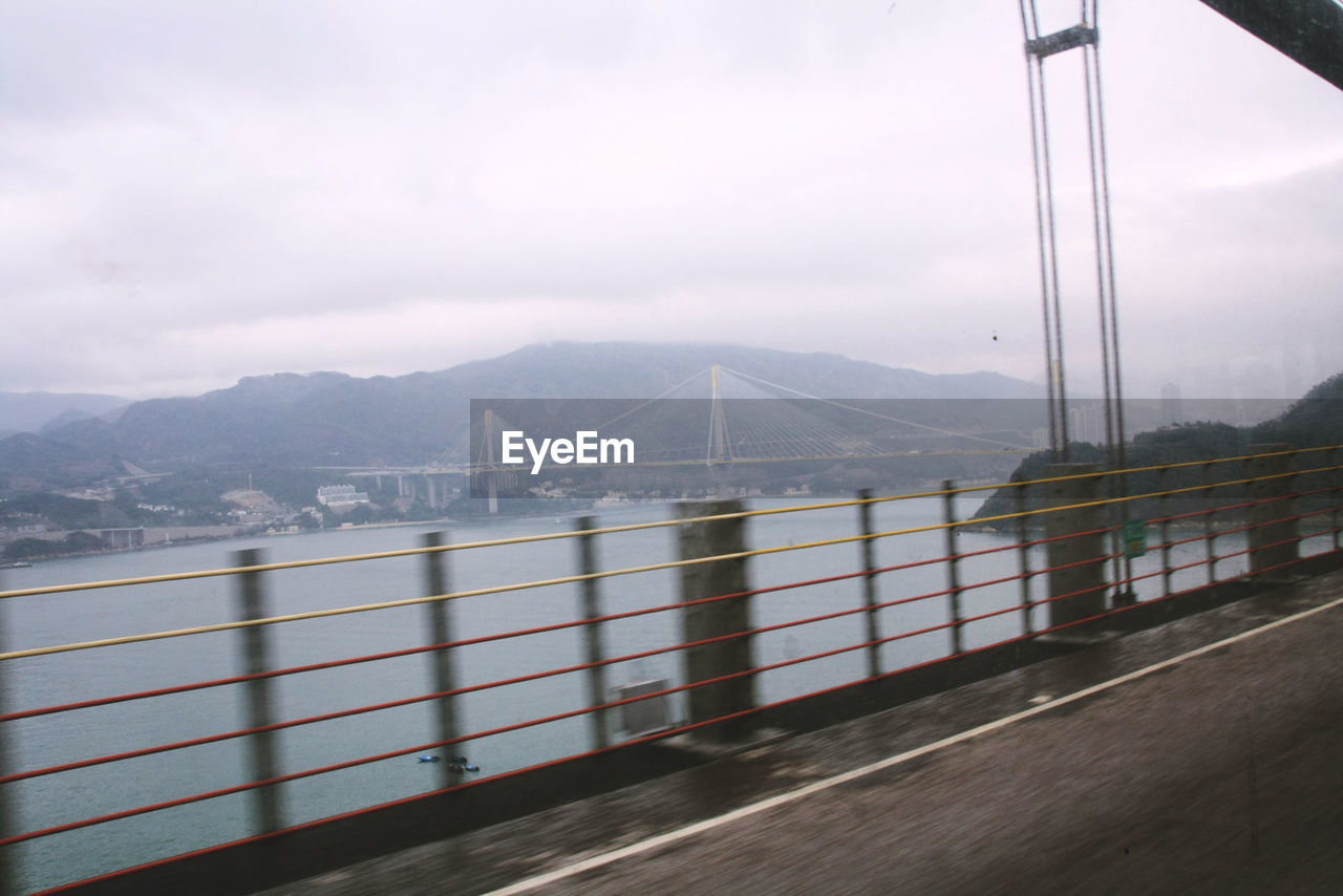 View of stonecutters bridge from car window