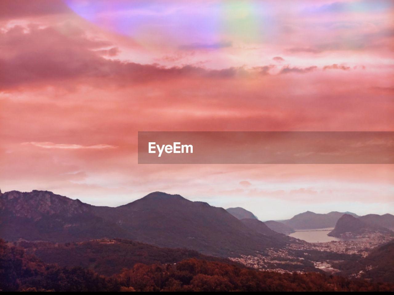 mountain, sky, cloud - sky, beauty in nature, scenics - nature, mountain range, tranquility, tranquil scene, sunset, nature, no people, idyllic, environment, outdoors, landscape, non-urban scene, dramatic sky, majestic, orange color, mountain peak