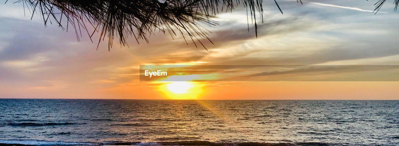 sky, sea, sunset, water, beauty in nature, horizon over water, scenics - nature, horizon, tranquility, cloud - sky, tranquil scene, no people, nature, sunlight, orange color, sun, idyllic, outdoors, land