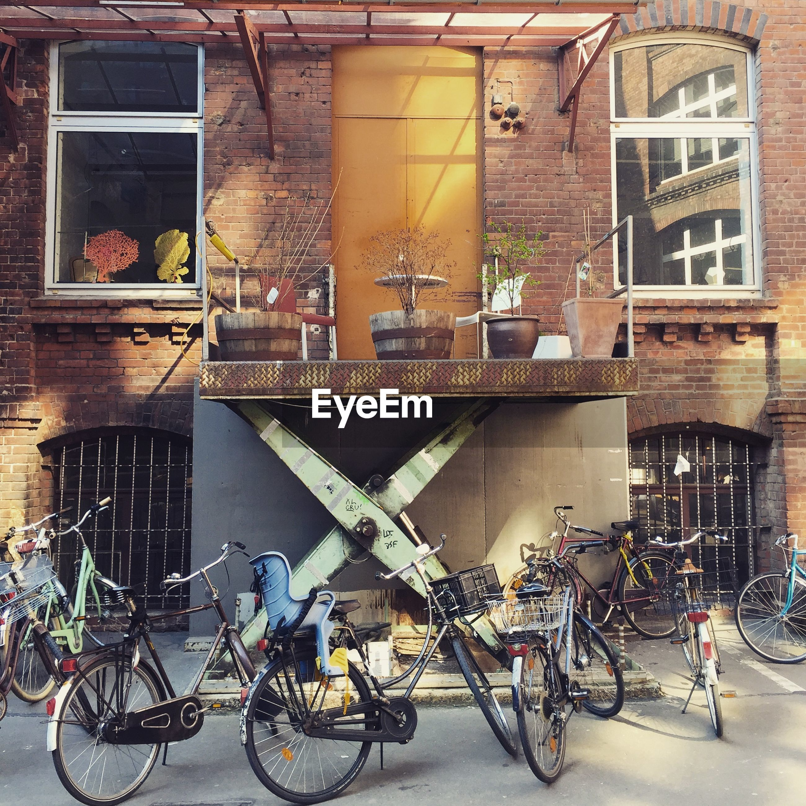 BICYCLES PARKED IN CITY