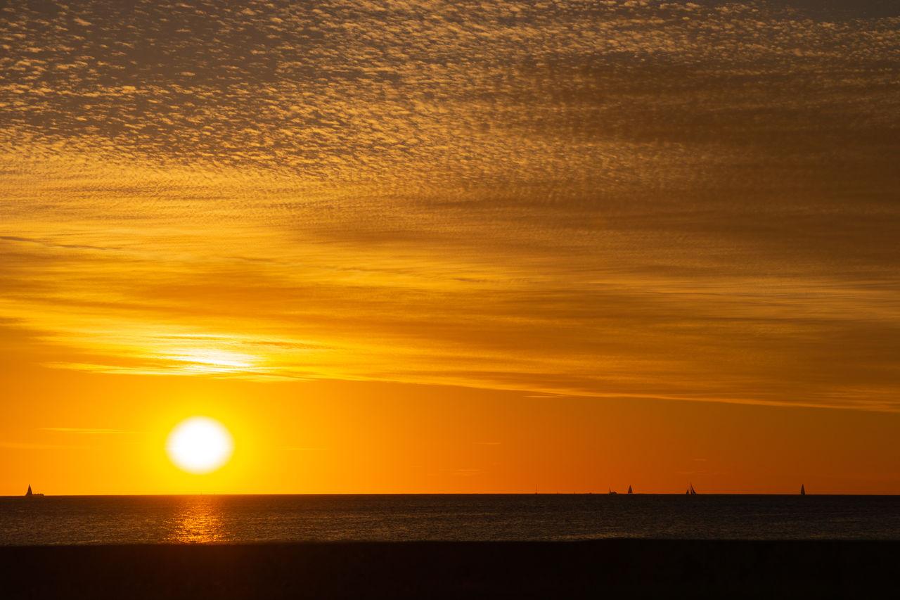 sunset, sky, sea, scenics - nature, water, beauty in nature, orange color, horizon over water, tranquility, horizon, tranquil scene, sun, idyllic, sunlight, beach, nature, cloud - sky, land, no people, outdoors