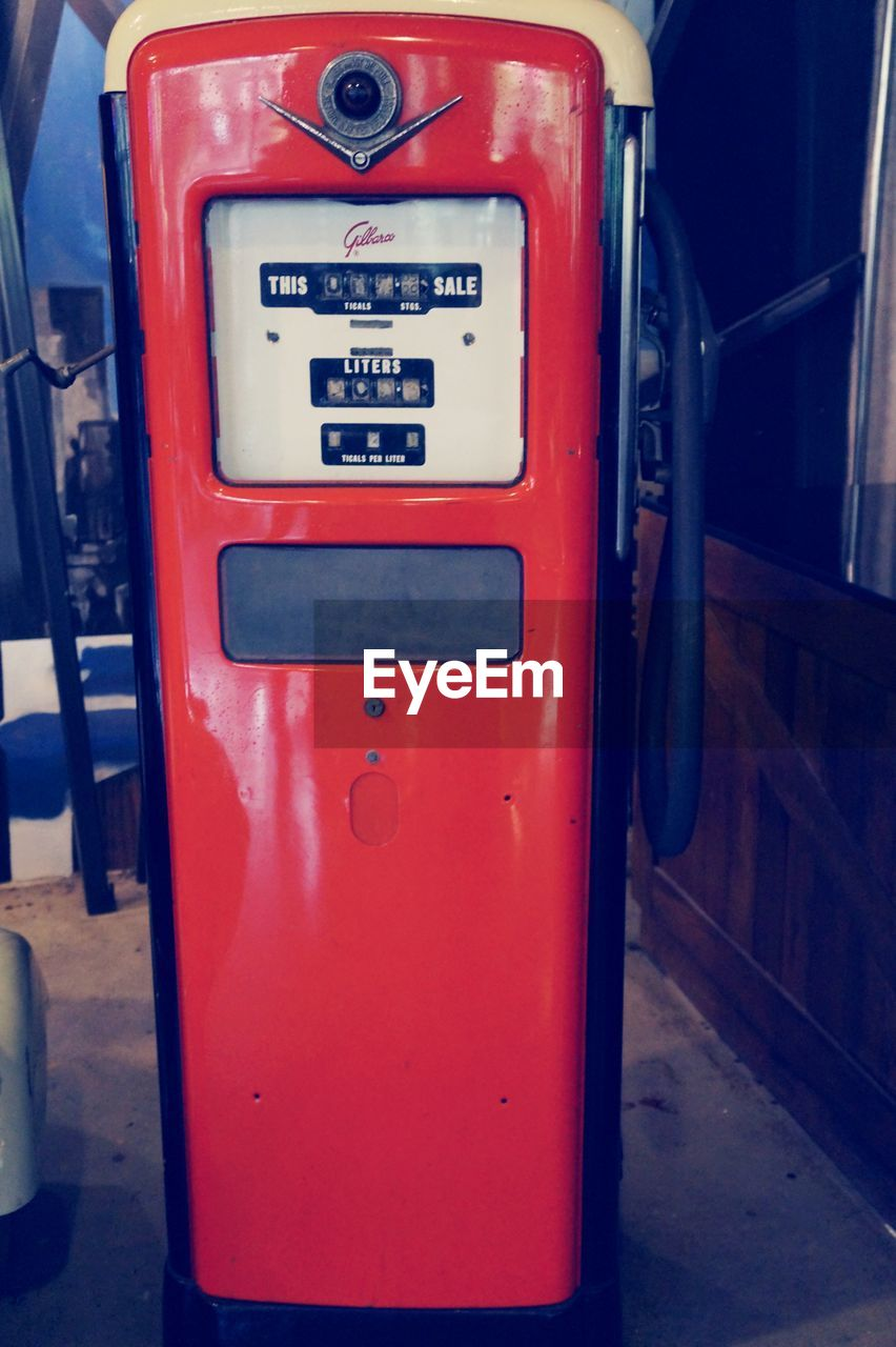 gasoline, gas station, refueling, red, fuel pump, no people, telephone booth, day, outdoors, pay phone