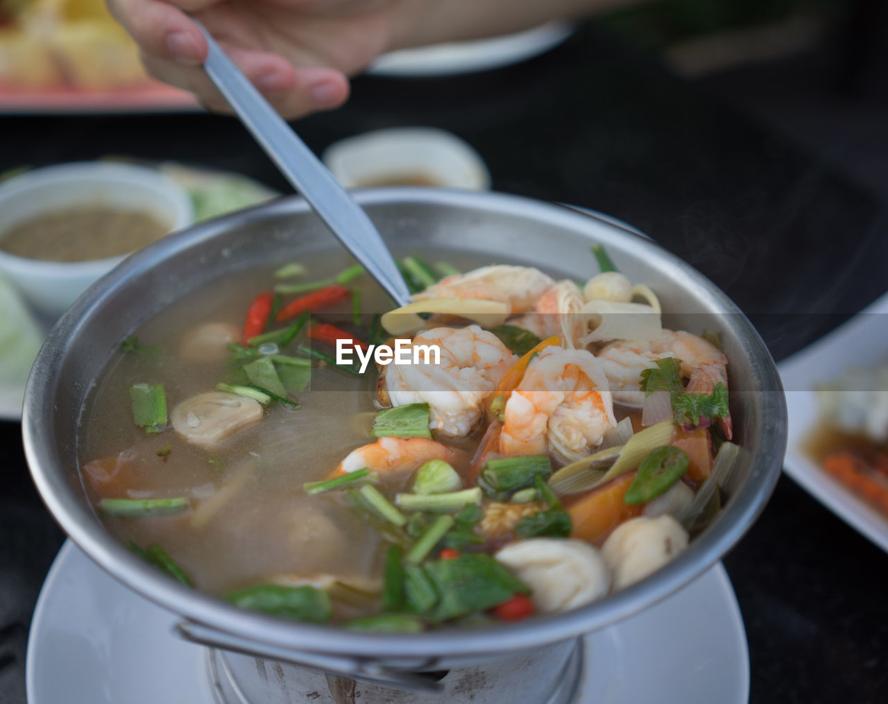 Close-Up Of Fresh Tom Yum Soup In Bowl