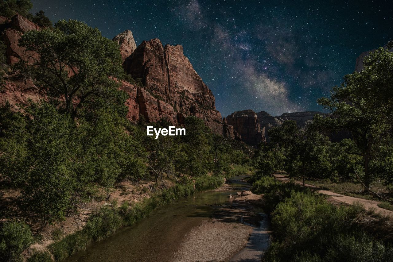 Milky Way Over Mountains At Zion National Park