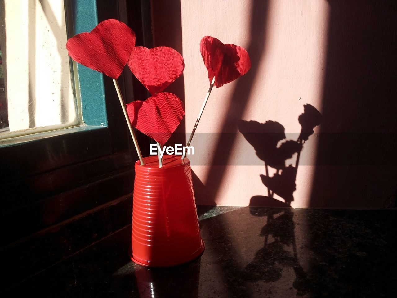 red, indoors, window, home interior, shadow, curtain, flower, no people, day, close-up, architecture