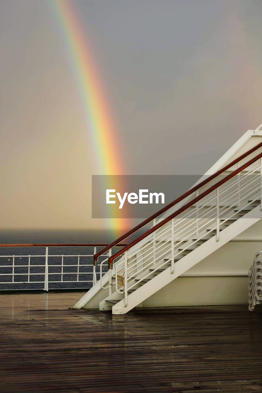 View of rainbow and ship