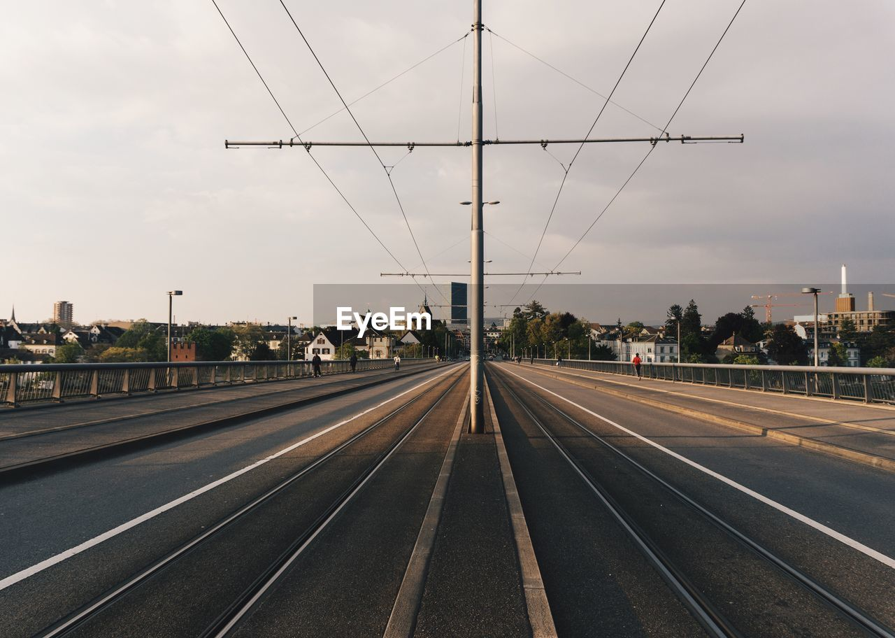 Surface Level Of Tram Tracks On Street