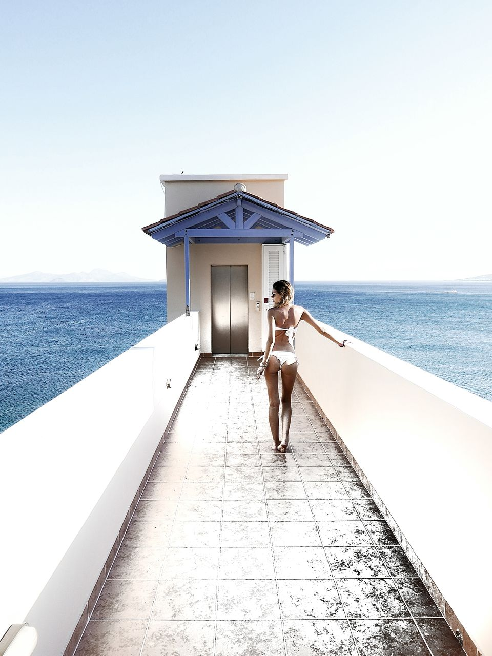 Rear view of seductive woman standing on pier over sea