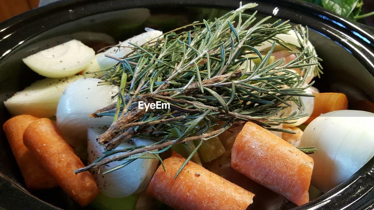 Close-Up Of Soup Ingrddients In Pot