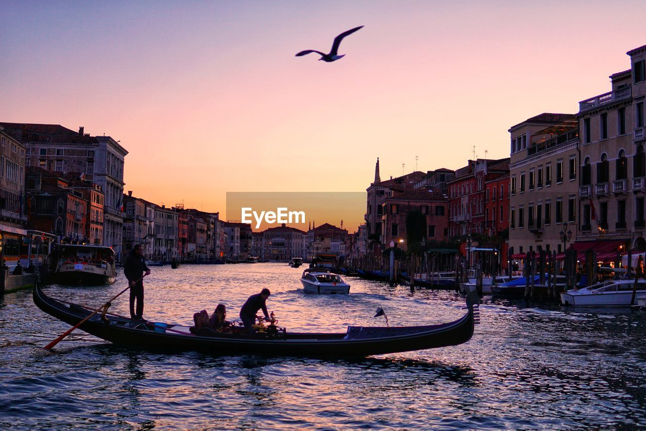 building exterior, architecture, water, built structure, transportation, nautical vessel, mode of transportation, sky, sunset, bird, animal themes, animal, city, vertebrate, waterfront, nature, travel, canal, building, outdoors, gondola - traditional boat