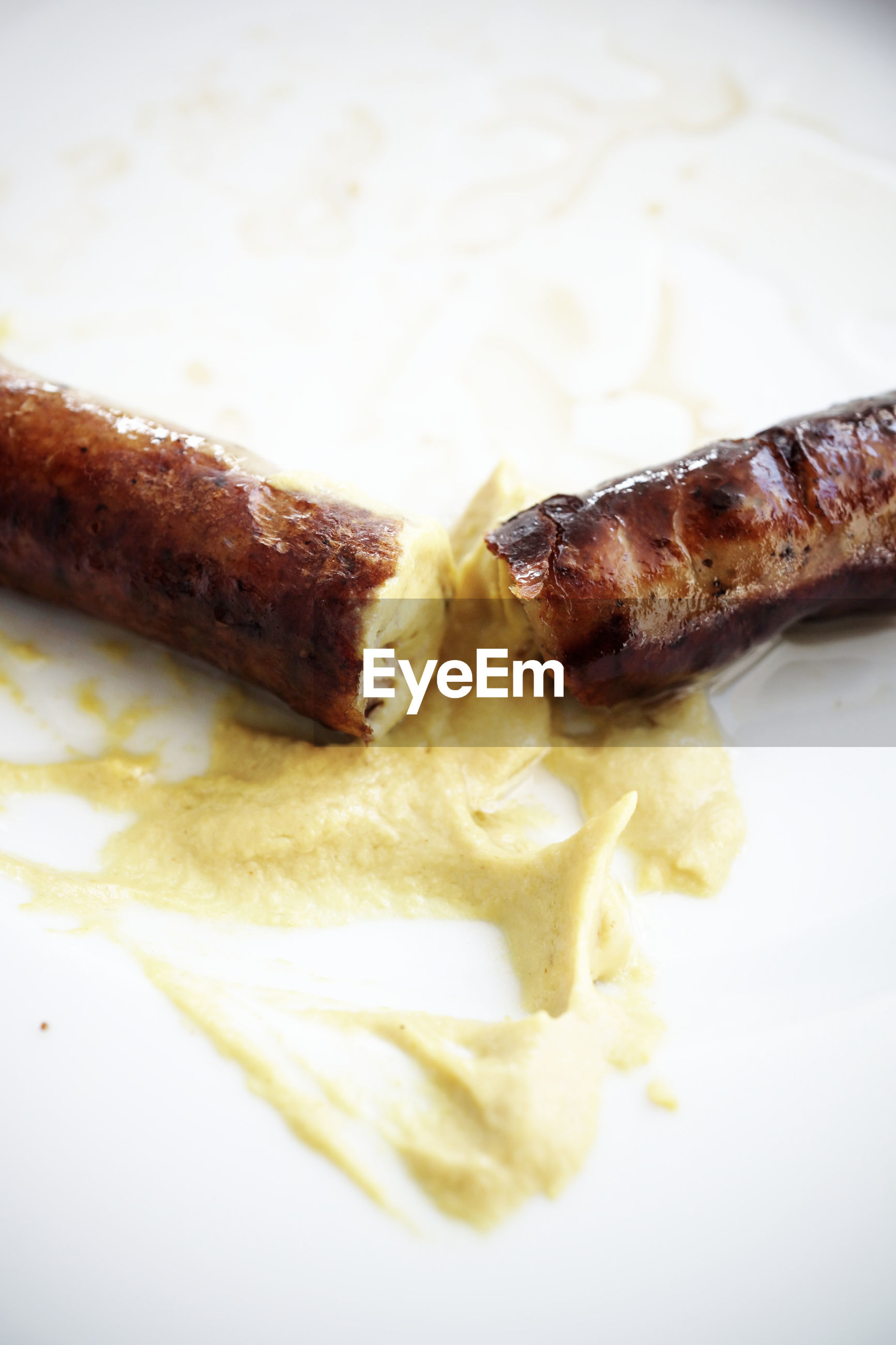 Close-up of bratwurst in plate