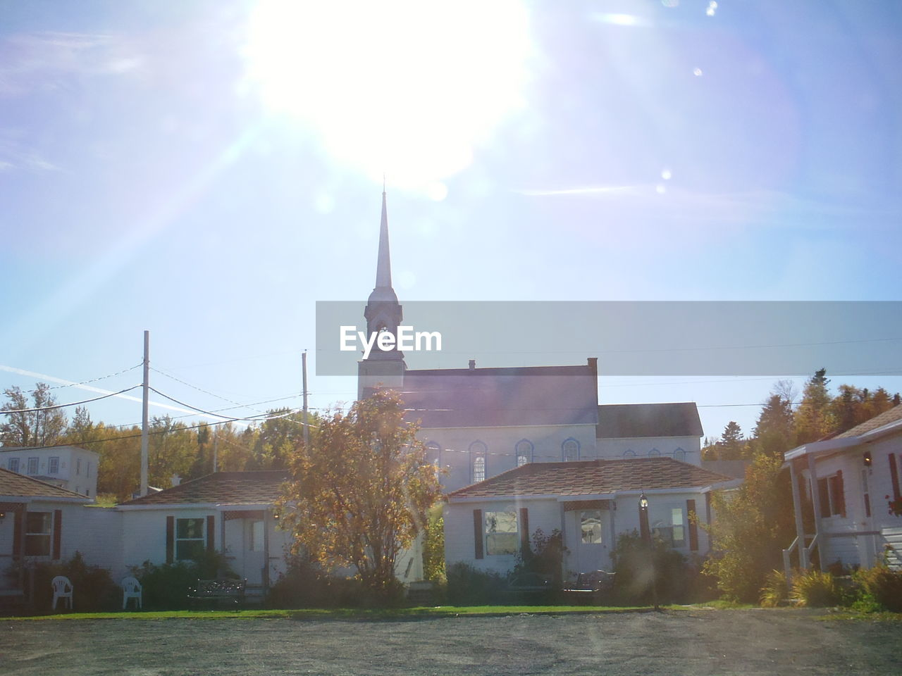 Exterior Of Church Against Bright Sun