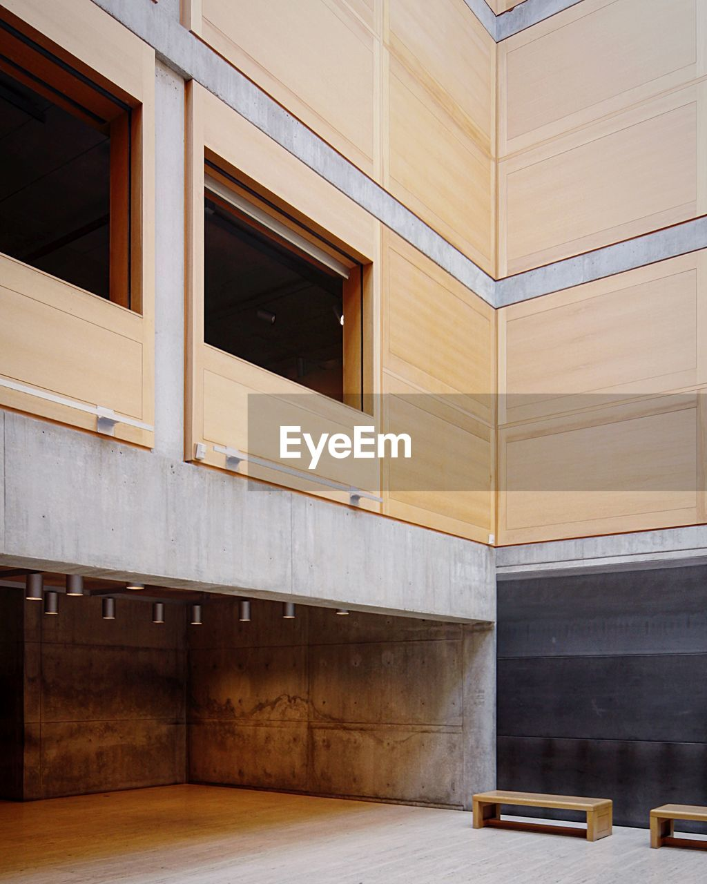 architecture, no people, built structure, building exterior, building, wood - material, empty, day, outdoors, brown, modern, bench, window, wall - building feature, absence, flooring, city, staircase, pattern, apartment