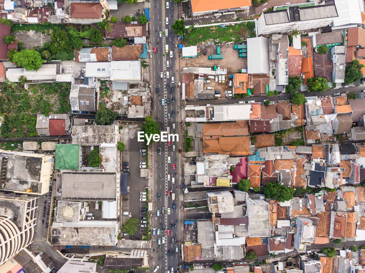 Aerial view of buildings and street in city