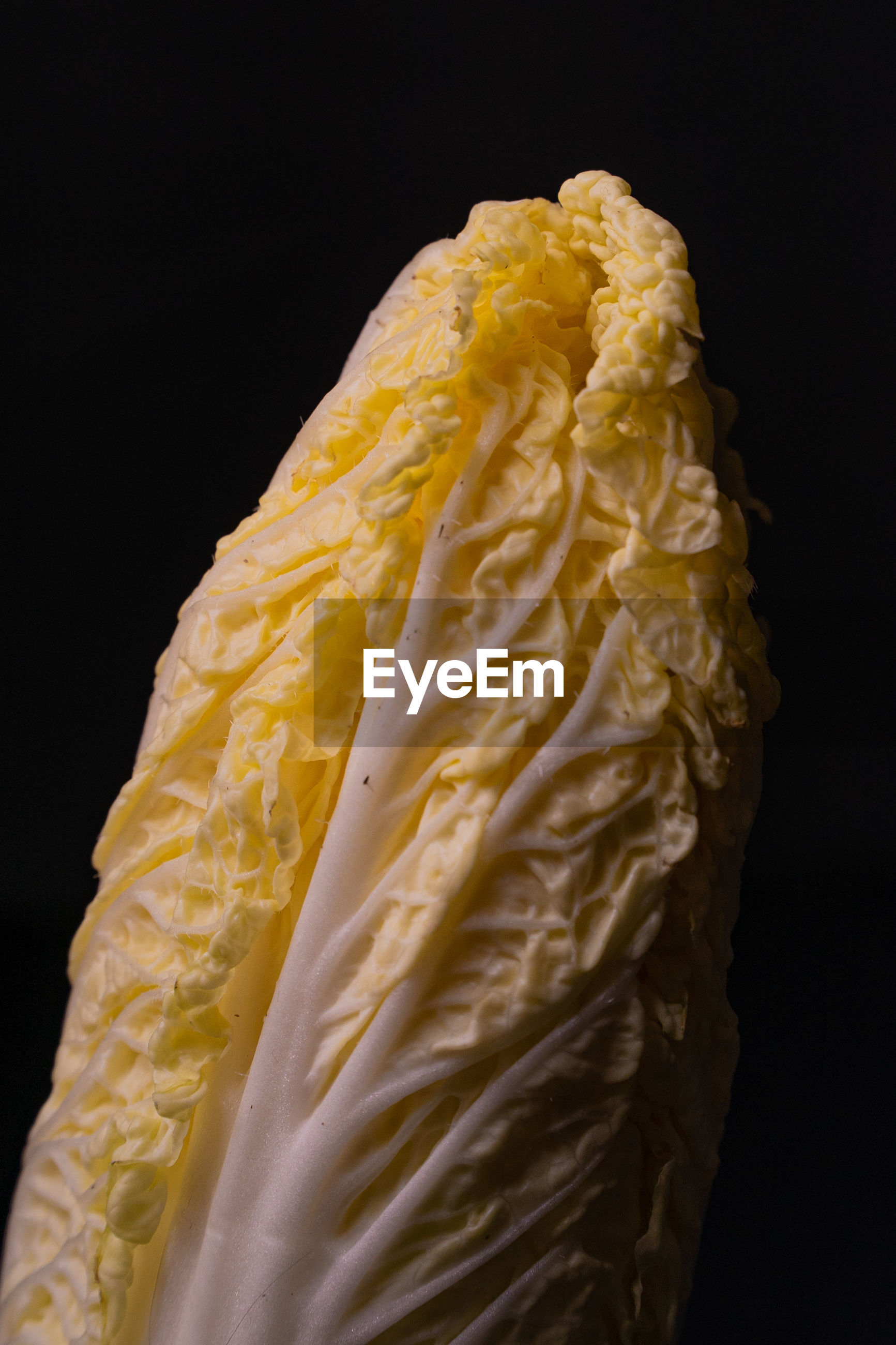 CLOSE-UP OF YELLOW CAKE AGAINST BLACK BACKGROUND