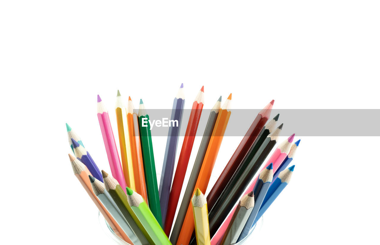 multi colored, white background, choice, studio shot, large group of objects, indoors, still life, pencil, variation, no people, writing instrument, collection, art and craft, colored pencil, craft, cut out, close-up, abundance, creativity, copy space, art and craft equipment