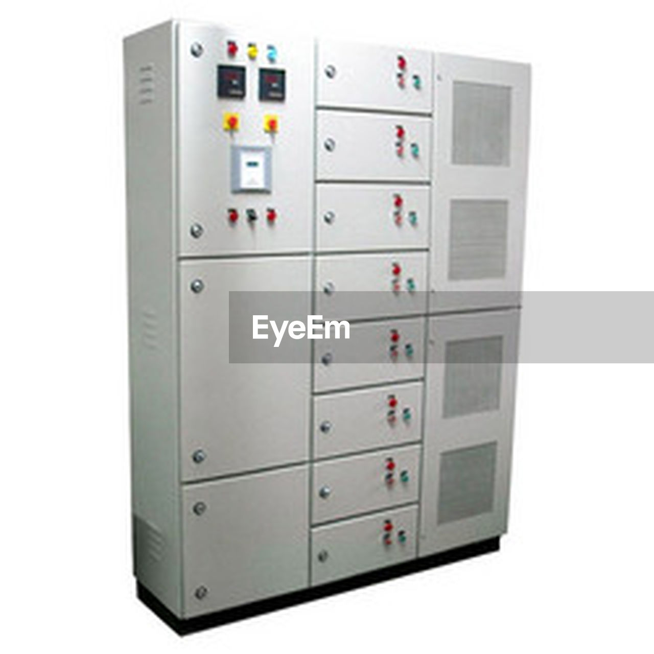 white background, white color, gray, clipping path, electrical equipment, electronics industry, no people, control panel, built structure, technology, indoors