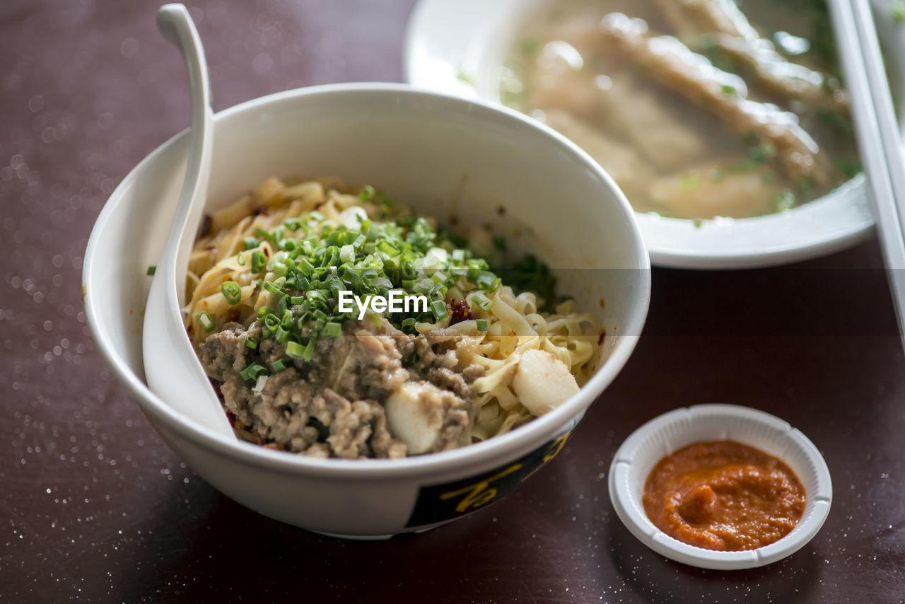 Ramen noodles soup served in bowl
