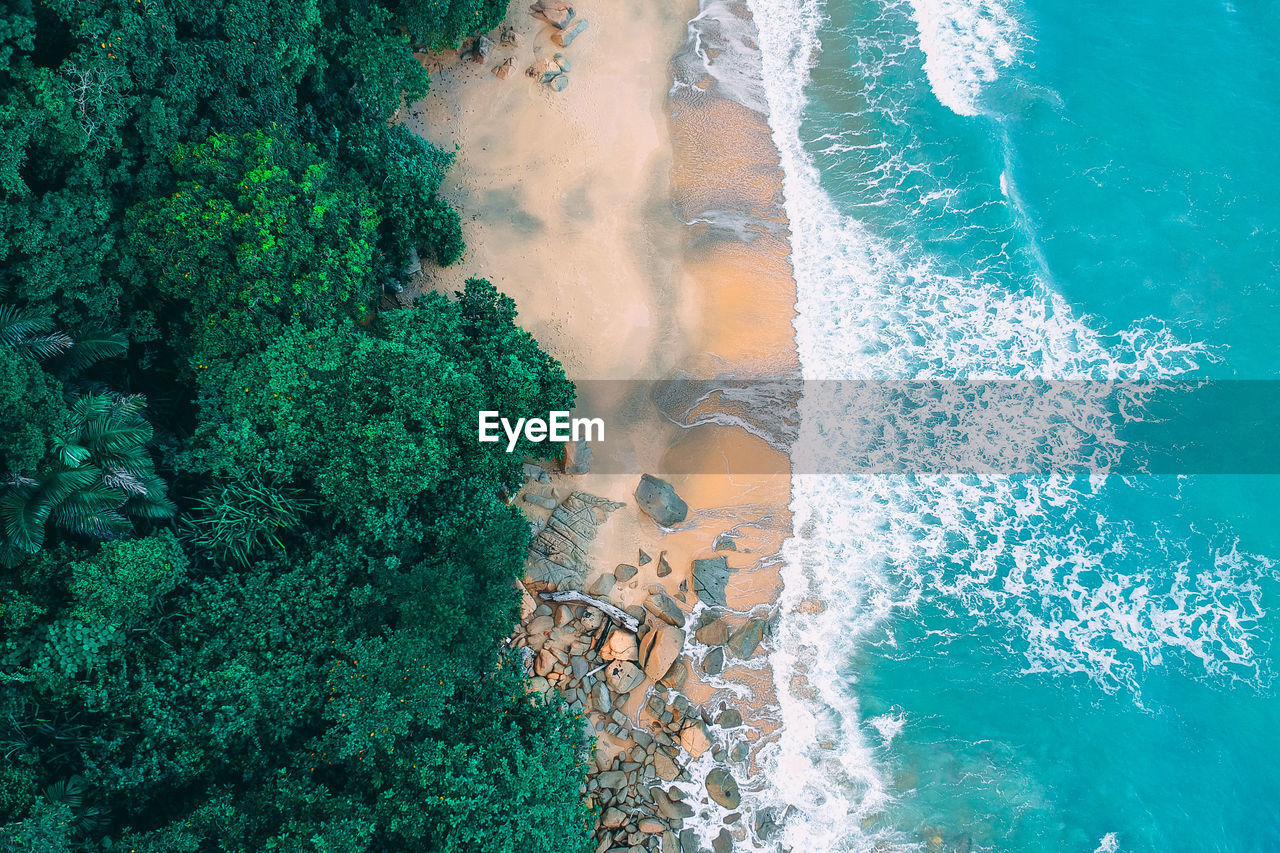 water, sea, motion, sport, beauty in nature, nature, high angle view, wave, aquatic sport, no people, land, power, day, beach, power in nature, green color, outdoors, scenics - nature, breaking, turquoise colored