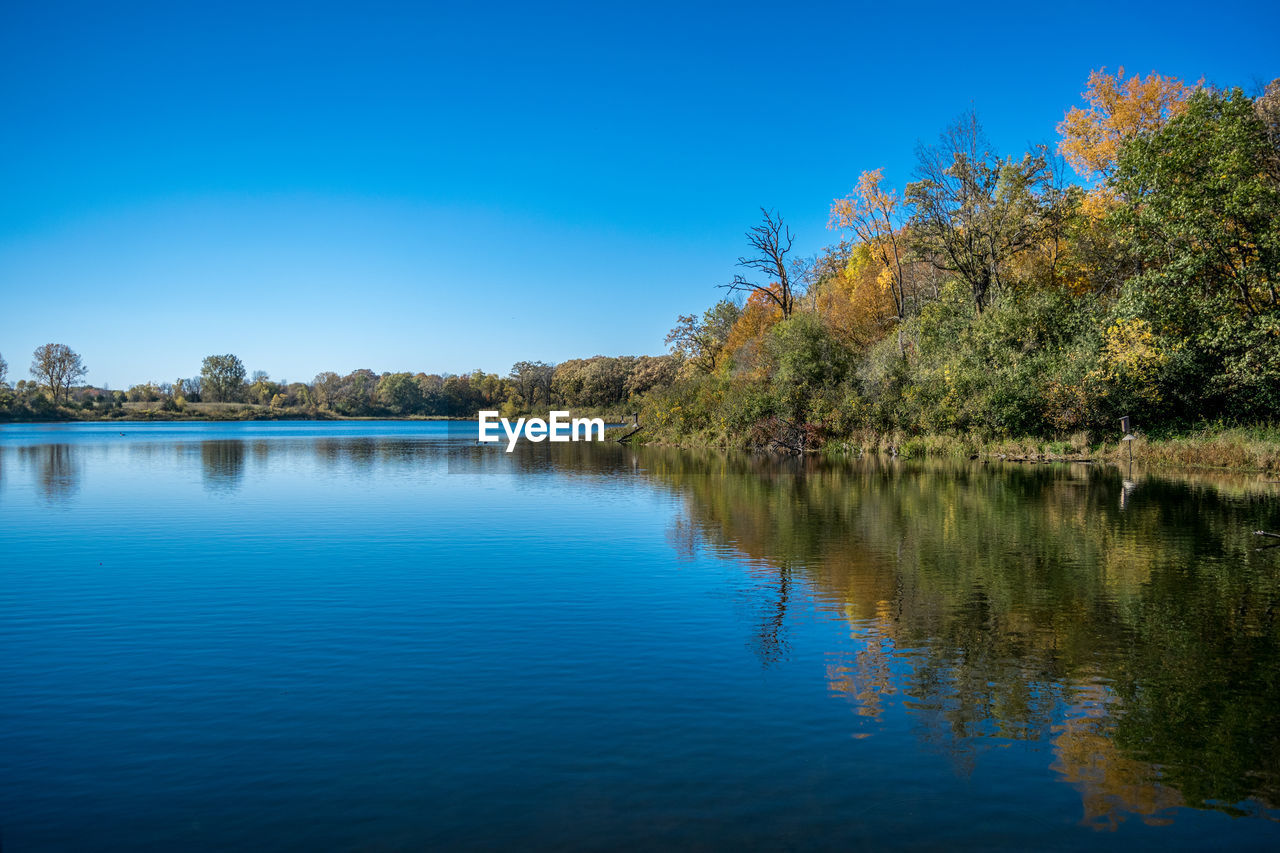 water, tree, reflection, lake, nature, tranquil scene, beauty in nature, tranquility, scenics, blue, outdoors, waterfront, no people, idyllic, day, clear sky, sky