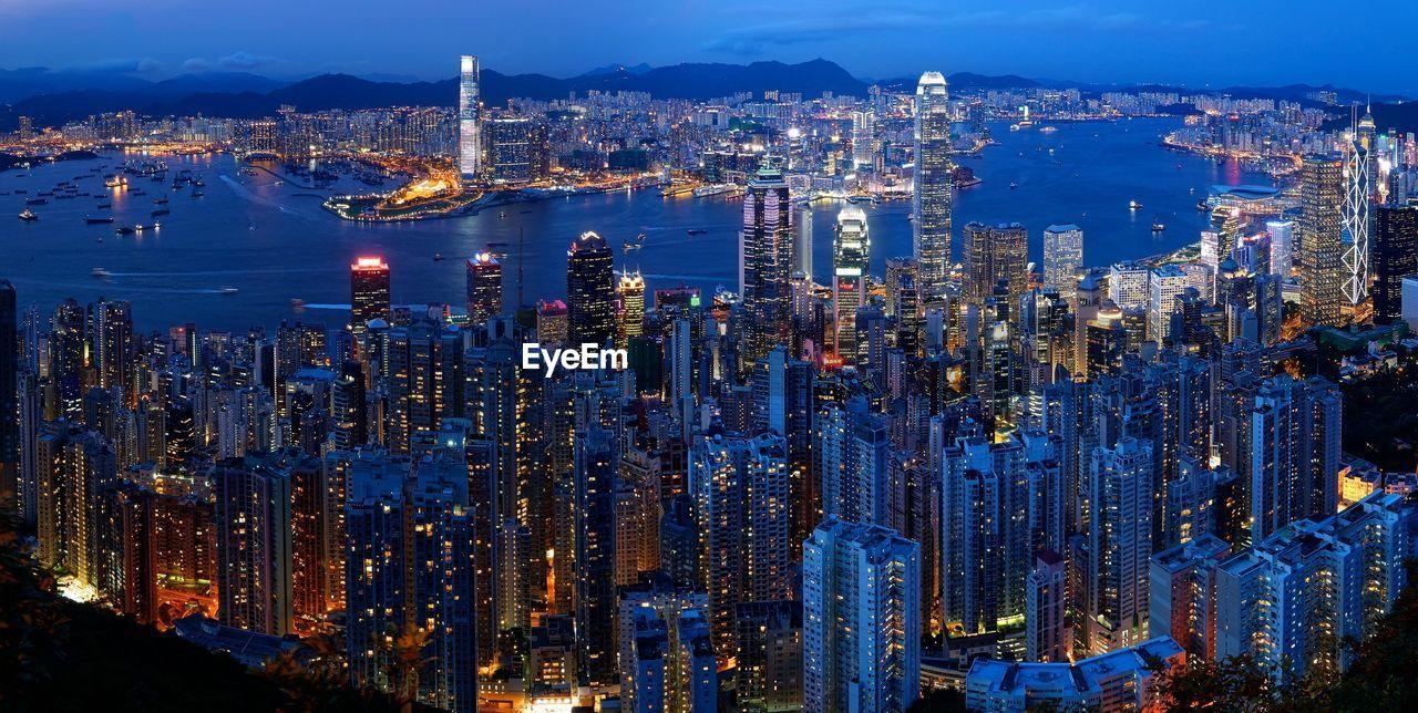 High Angle View Of Hong Kong At Night