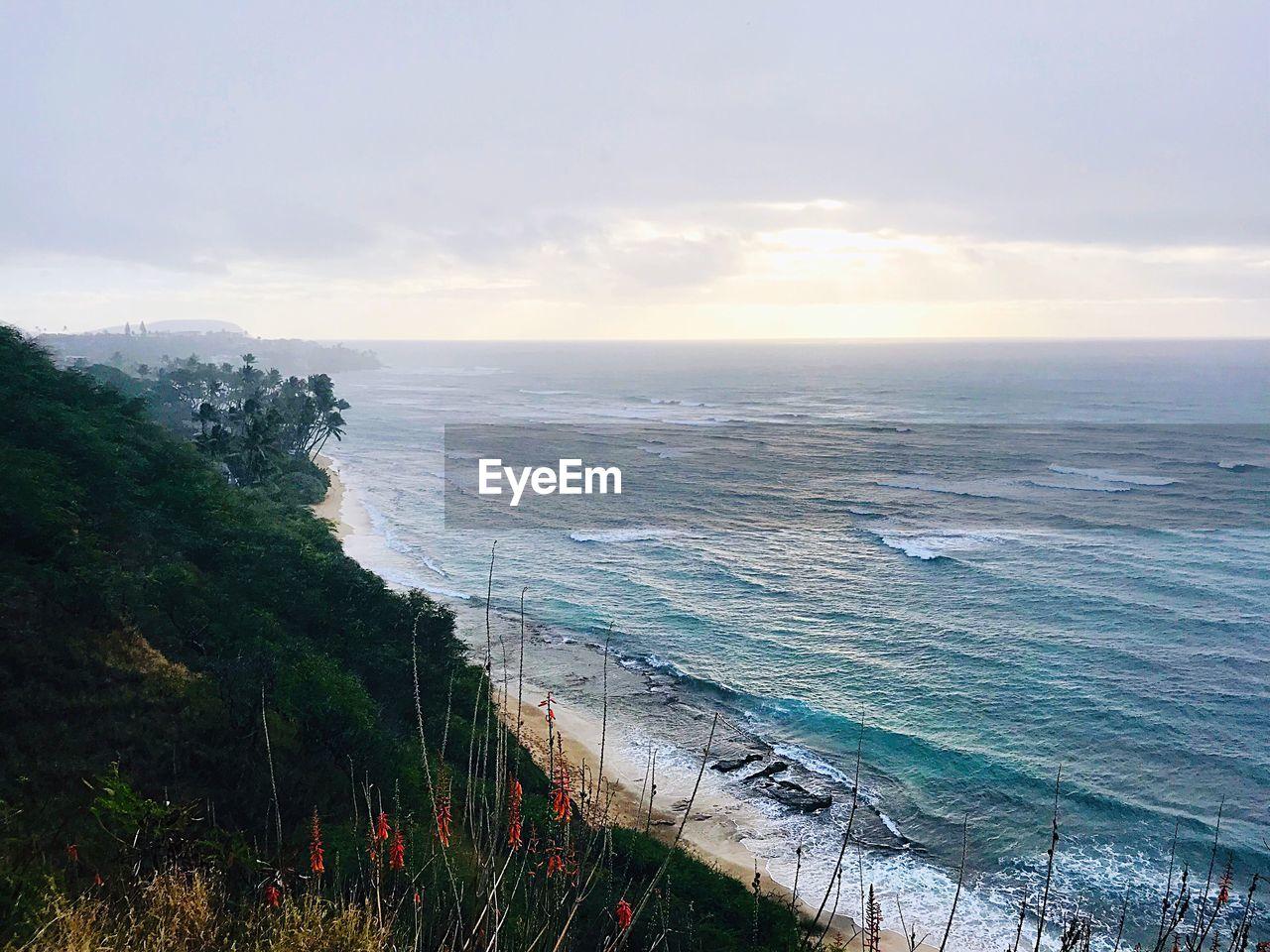 sky, water, sea, beauty in nature, scenics - nature, horizon over water, horizon, beach, tranquil scene, cloud - sky, nature, tranquility, land, plant, no people, non-urban scene, idyllic, sunset, grass