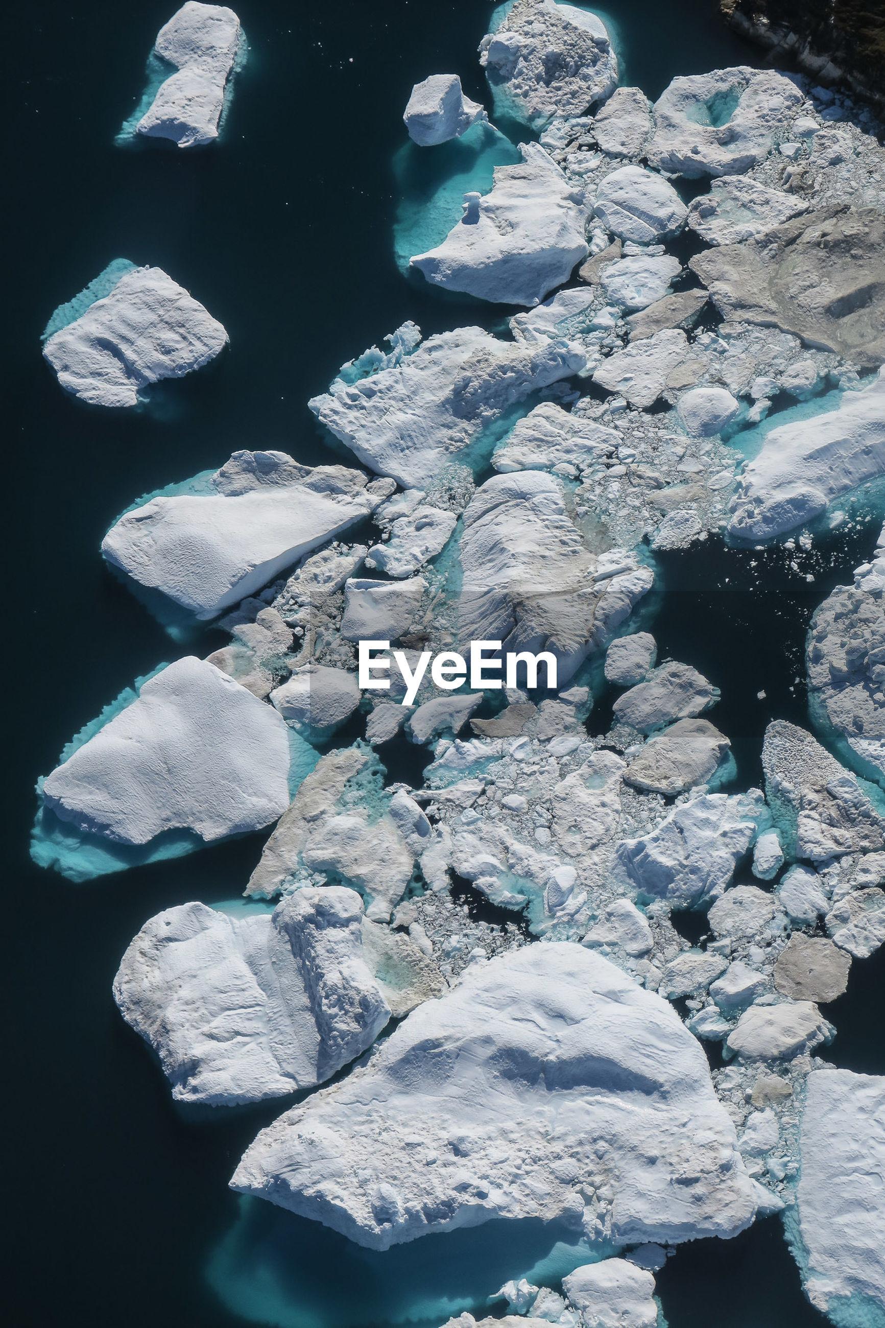 High angle view icebergs on lake