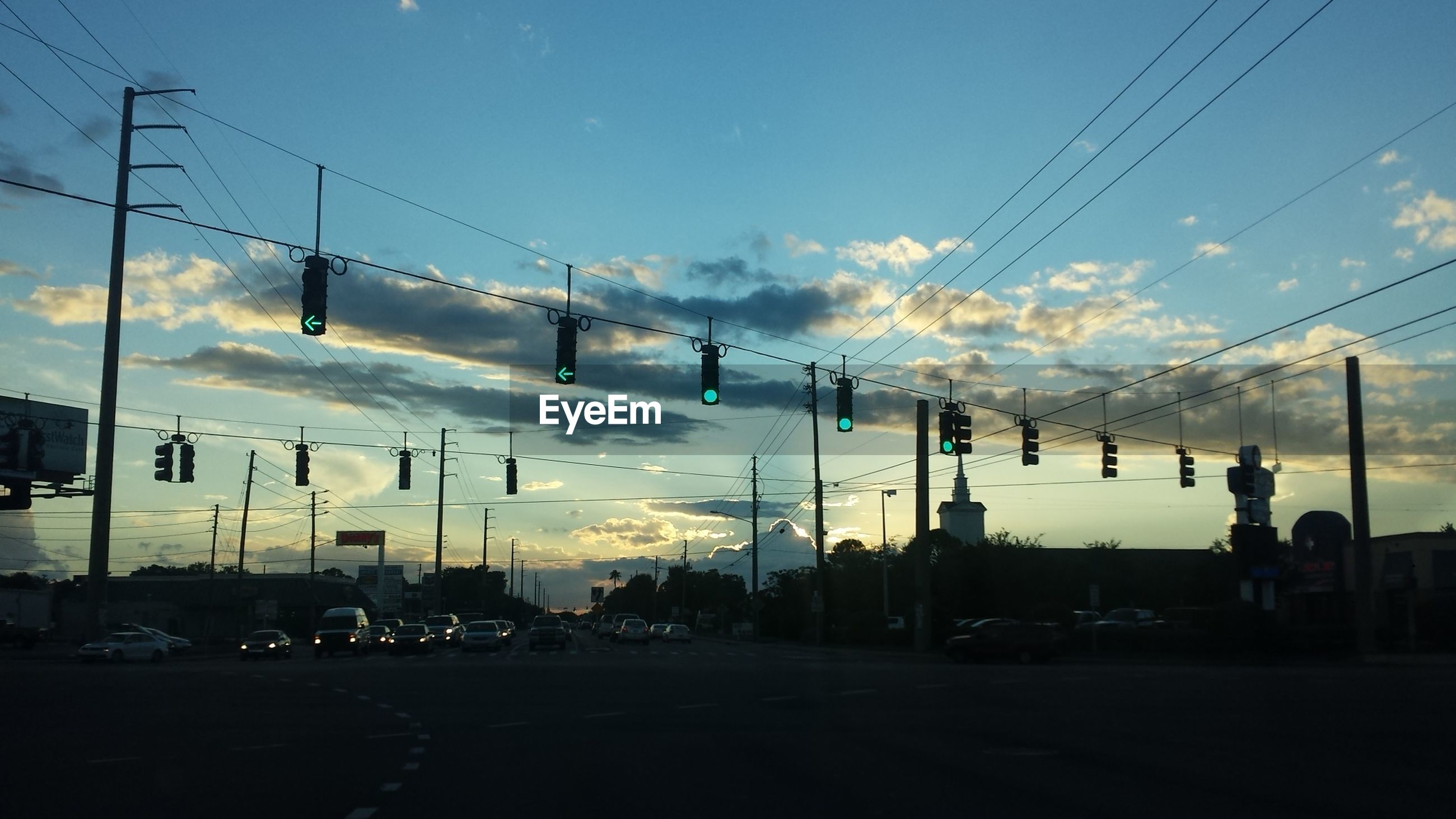 Stop lights at sunset