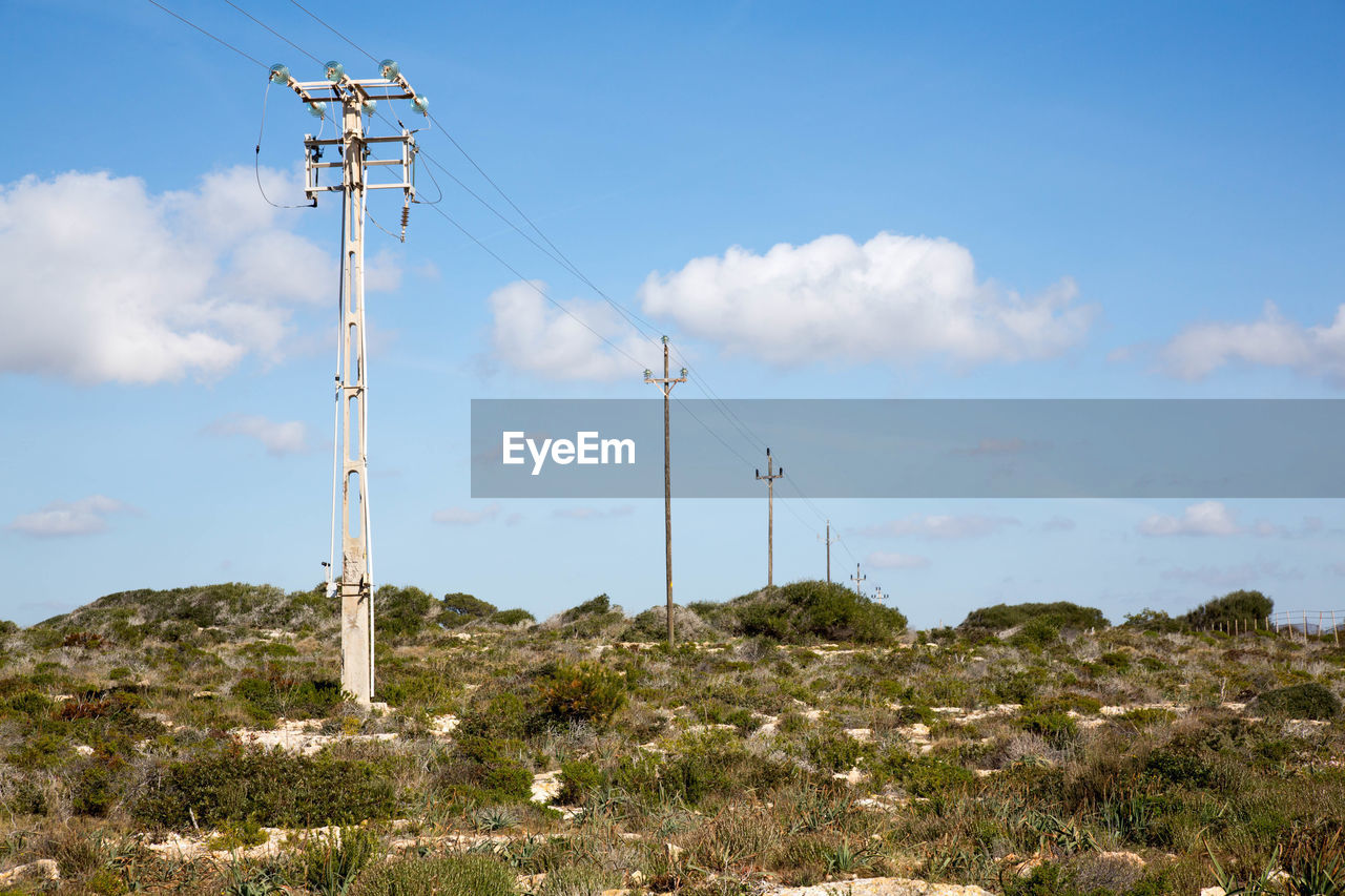 fuel and power generation, technology, sky, electricity, cable, cloud - sky, connection, nature, electricity pylon, no people, power line, day, land, power supply, landscape, plant, environment, beauty in nature, field, scenics - nature, outdoors, electrical equipment, telephone line