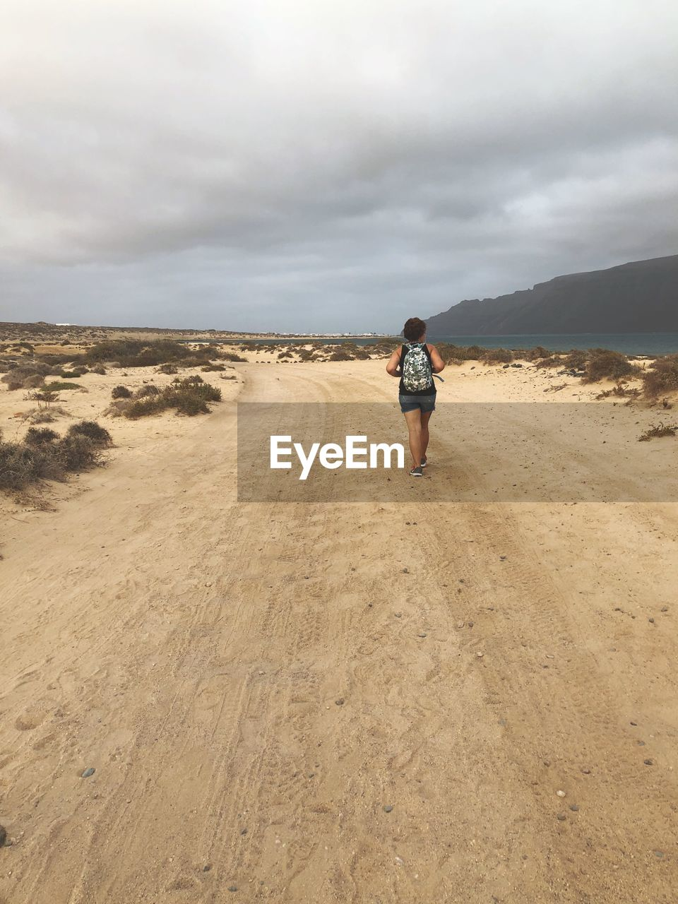 Rear view of woman with backpack walking at beach