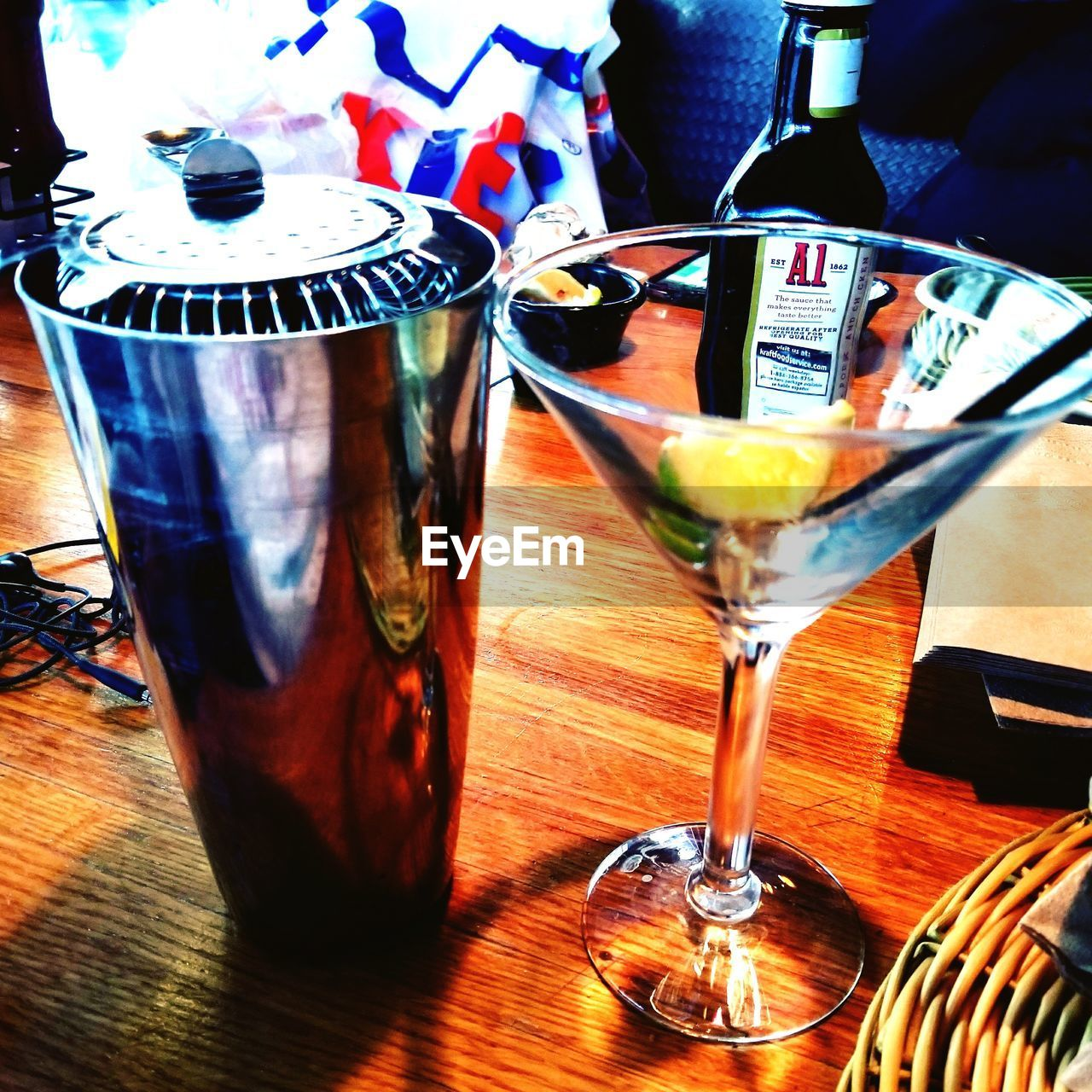 cocktail, refreshment, drink, food and drink, alcohol, table, drinking glass, indoors, no people, martini glass, close-up, freshness, multi colored, nightclub, day