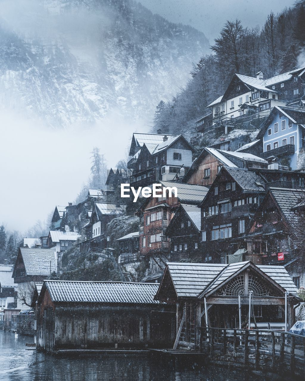 Houses and trees against mountains during snowfall
