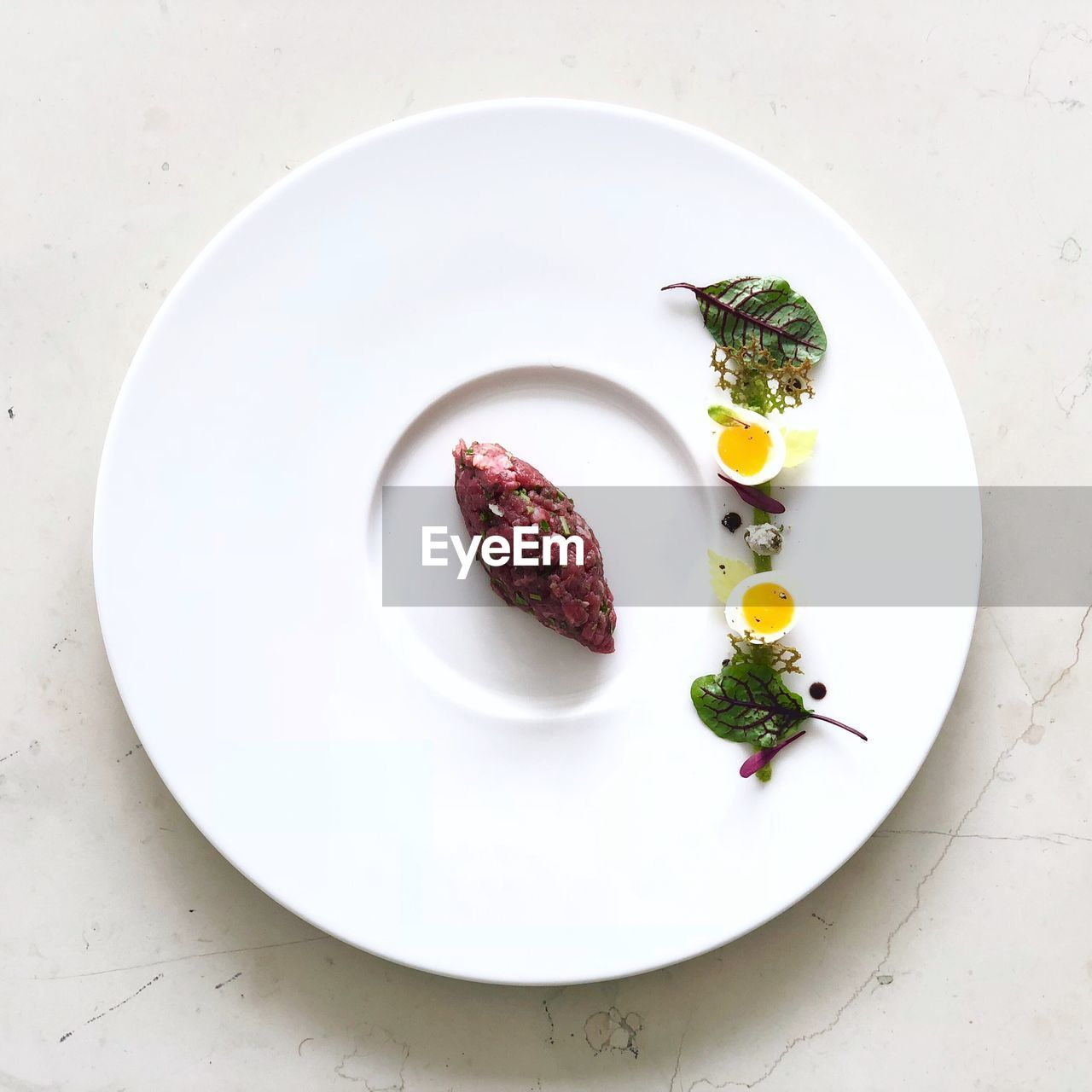 High angle view of breakfast served in plate