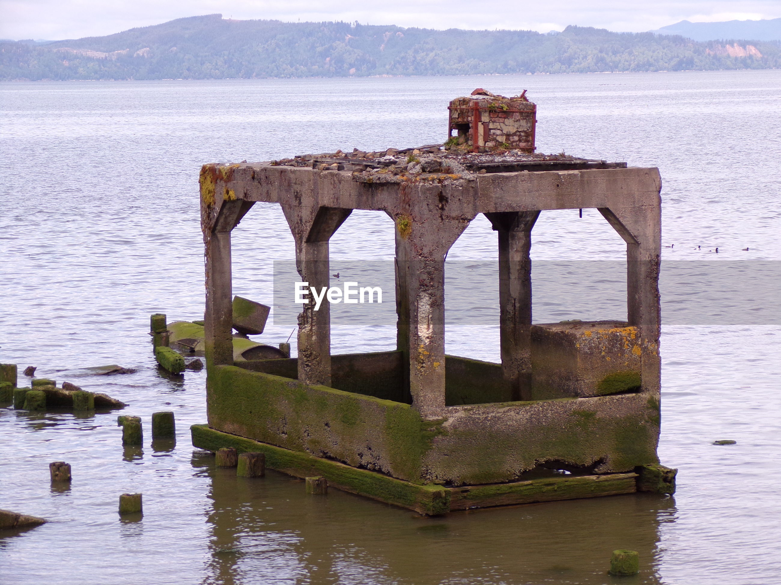 Old rubble left over from years past on the columbia river