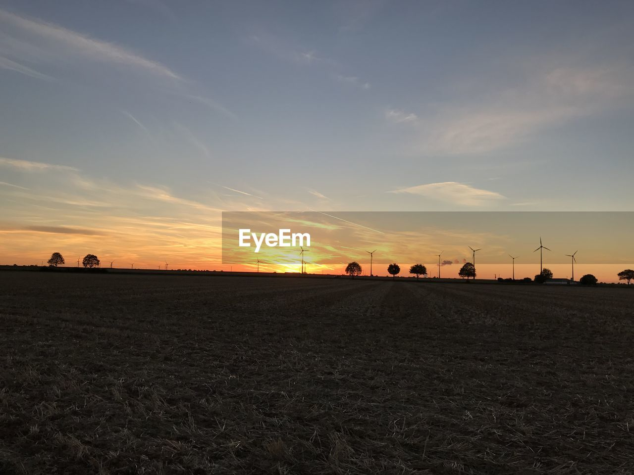 sky, sunset, environment, land, beauty in nature, landscape, field, tranquil scene, scenics - nature, tranquility, cloud - sky, nature, orange color, agriculture, no people, non-urban scene, idyllic, rural scene, farm, outdoors