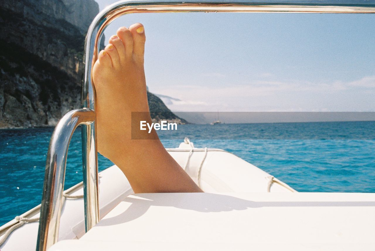 Close-Up Of The Foot Of A Woman On A Boat