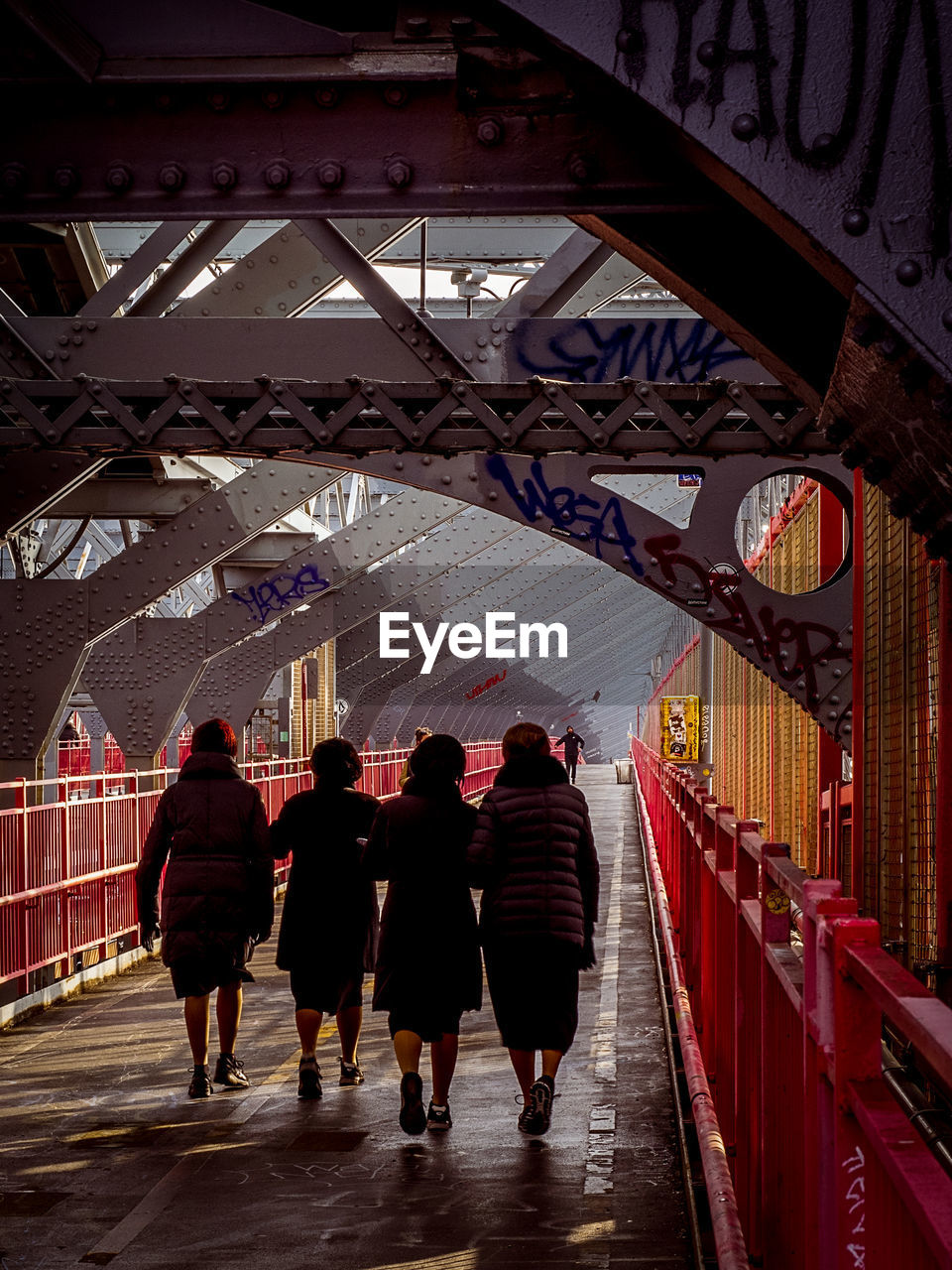 architecture, rear view, built structure, real people, full length, group of people, women, men, lifestyles, walking, adult, people, indoors, leisure activity, the way forward, direction, travel, bridge, city