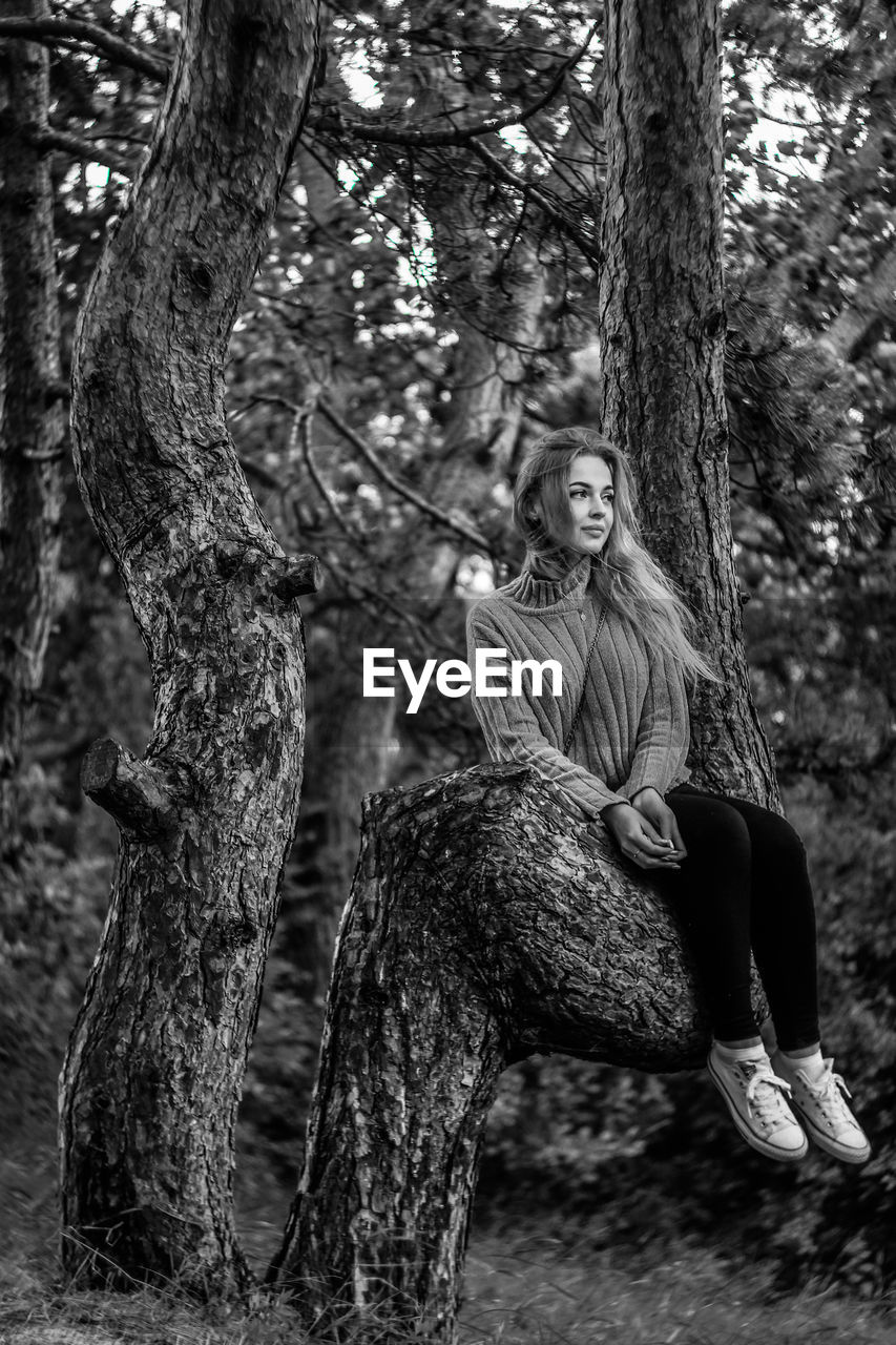 tree, plant, leisure activity, sitting, tree trunk, one person, trunk, full length, casual clothing, lifestyles, forest, nature, real people, portrait, adult, land, young adult, front view, hair, hairstyle, outdoors, beautiful woman, warm clothing, contemplation