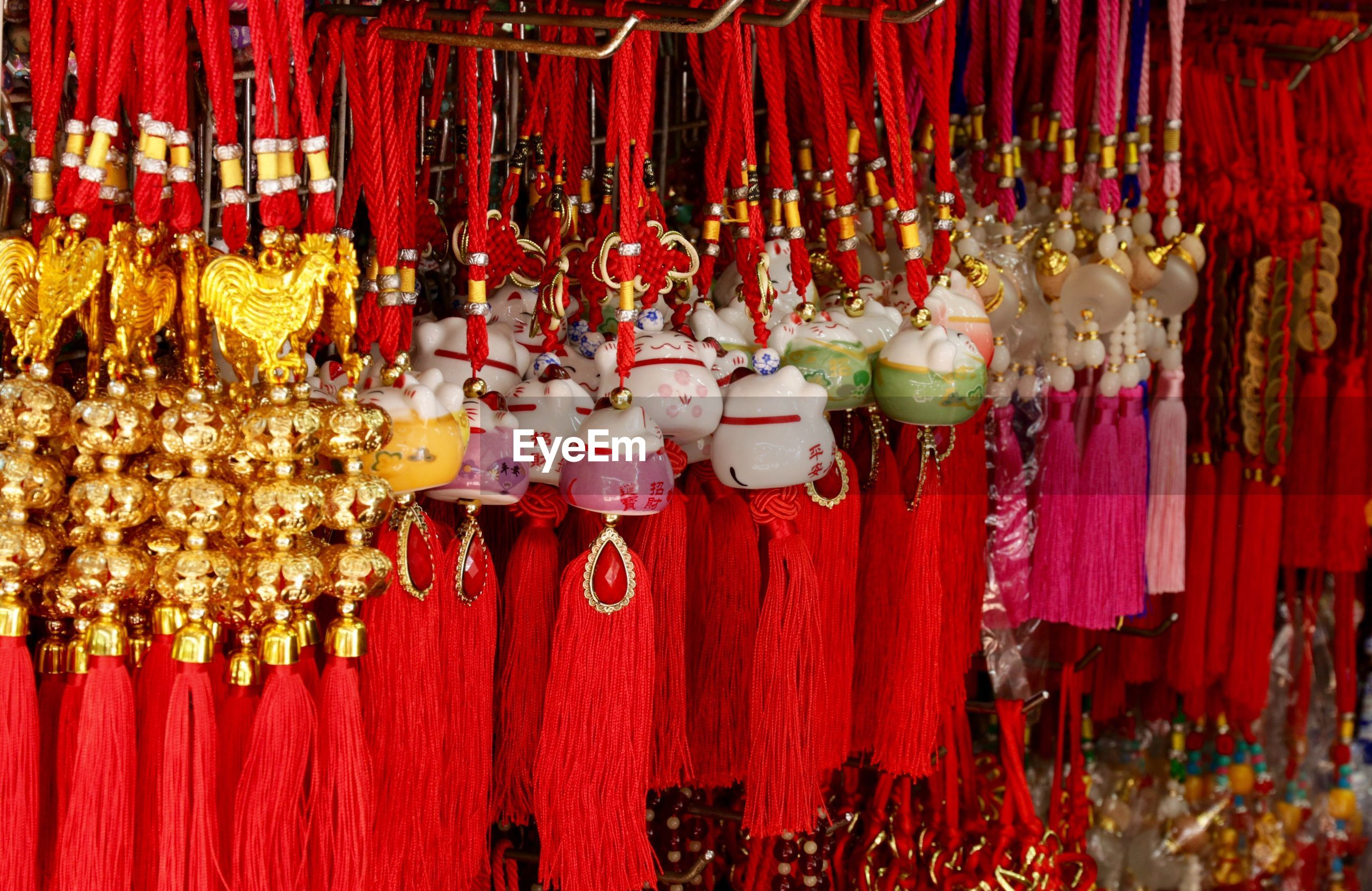 Various decorations hanging at market