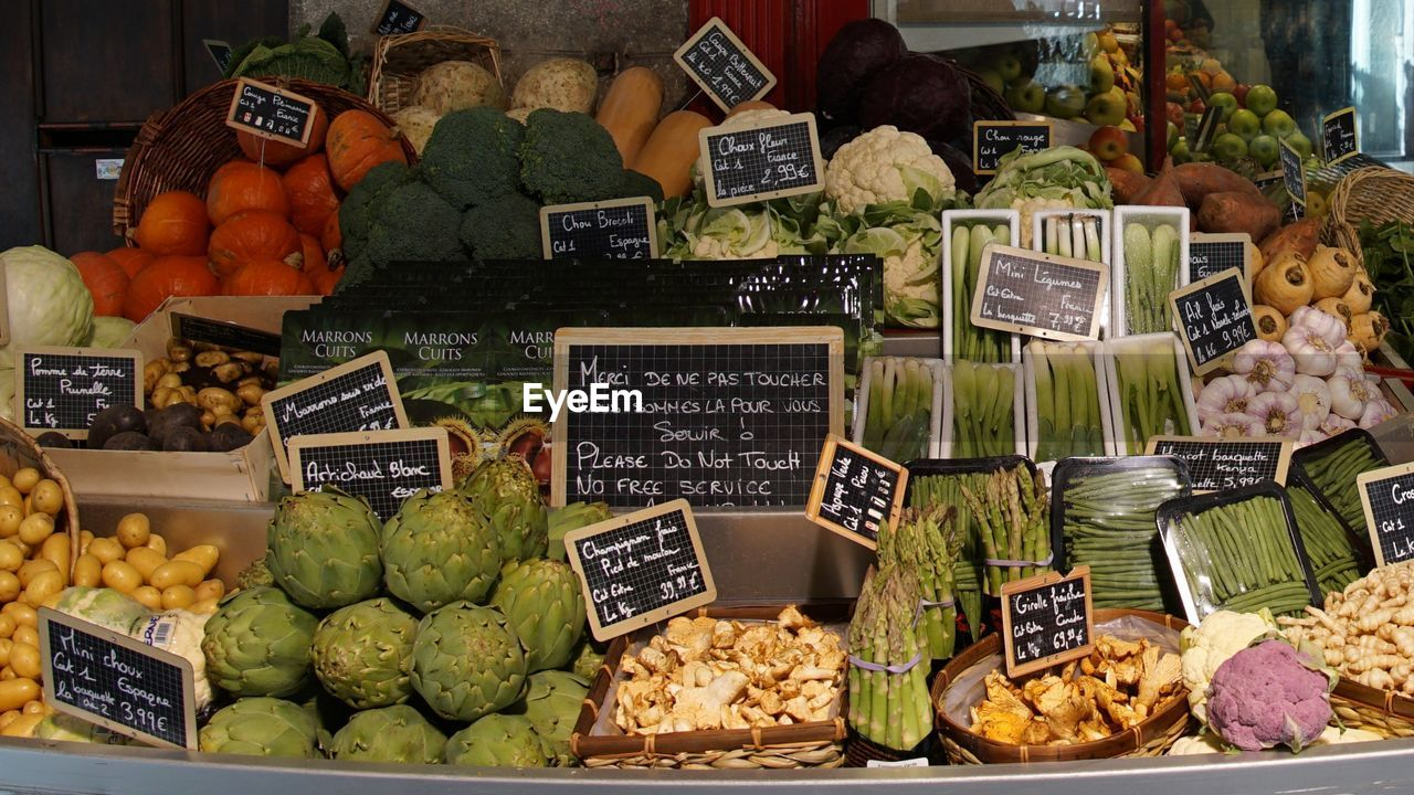 food and drink, food, choice, healthy eating, variation, wellbeing, freshness, text, market, price tag, retail, for sale, large group of objects, fruit, market stall, abundance, communication, no people, still life, number, retail display