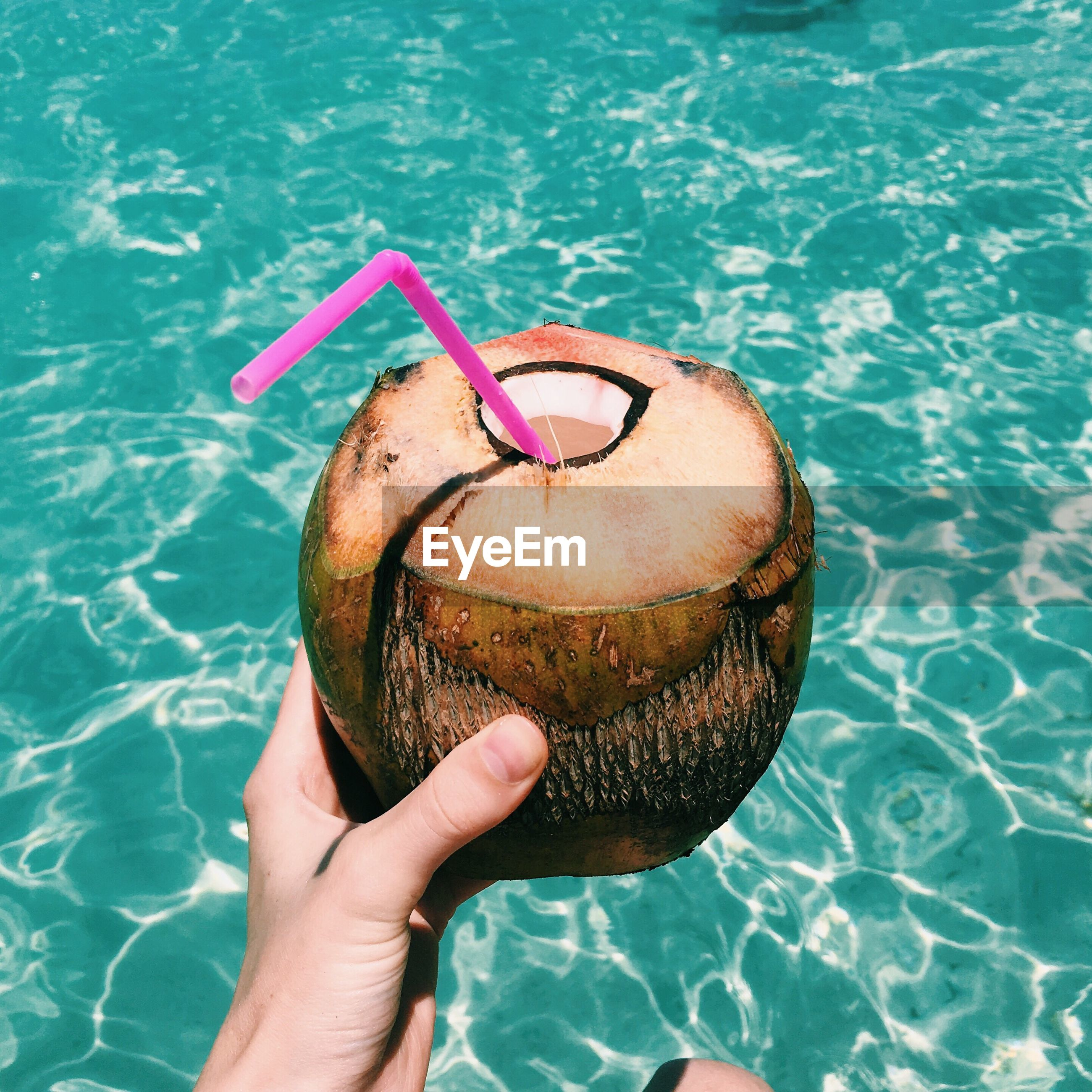 Cropped hand having coconut by sea