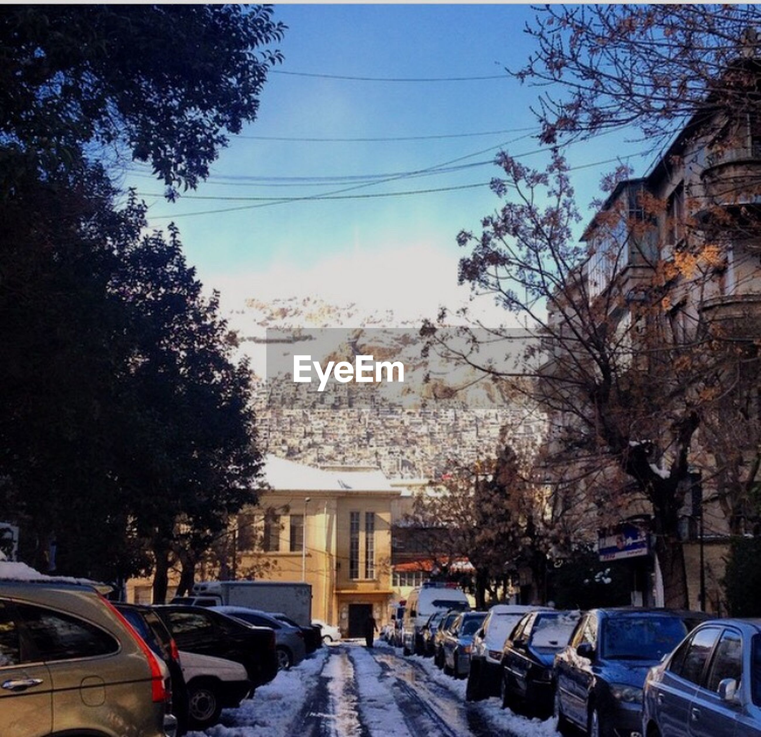 transportation, tree, mode of transport, land vehicle, car, architecture, building exterior, built structure, snow, winter, house, street, road, cold temperature, residential building, parking, city, stationary, mountain, travel destinations, blue, sky, in front of, vehicle, no people