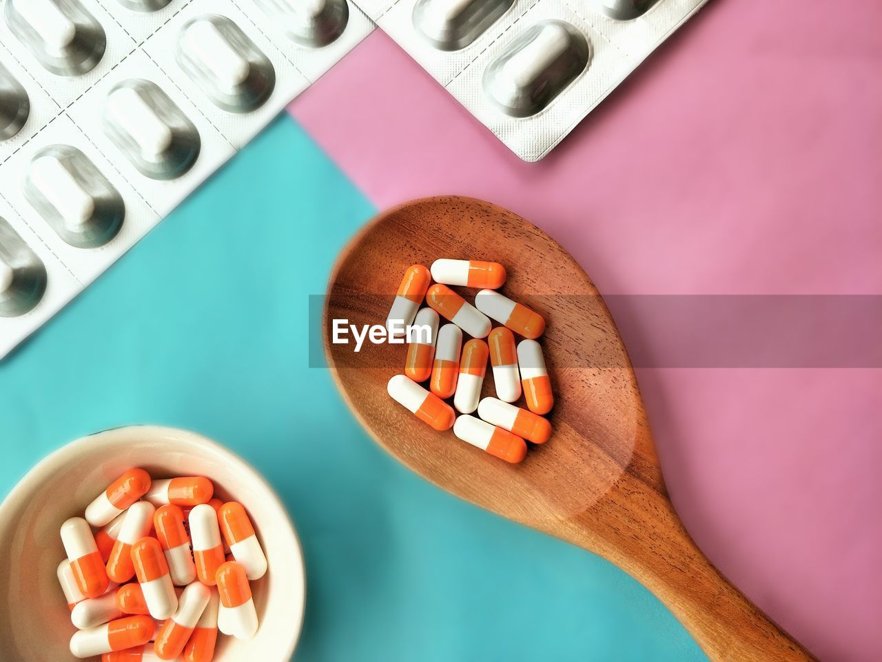 High angle view of medicines on table