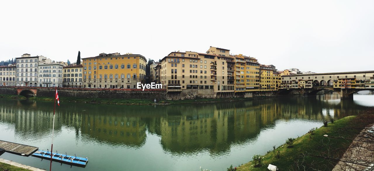 Fish-Eye View Of Buildings By Arno River Canal Against Clear Sky